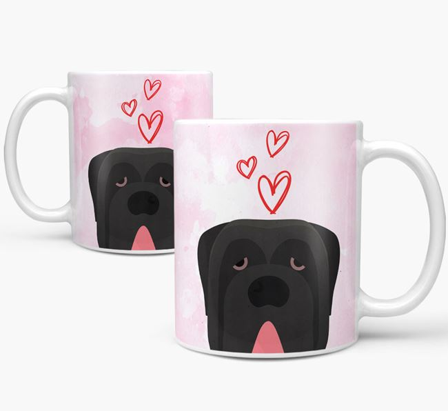 Peeking Neapolitan Mastiff Icon and Hearts Mug