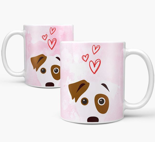 Peeking Parson Russell Terrier Icon and Hearts Mug