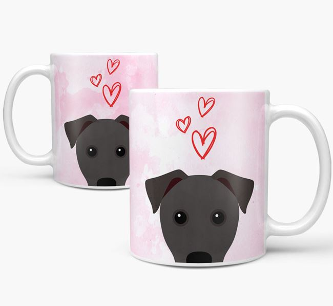 Peeking Patterdale Terrier Icon and Hearts Mug