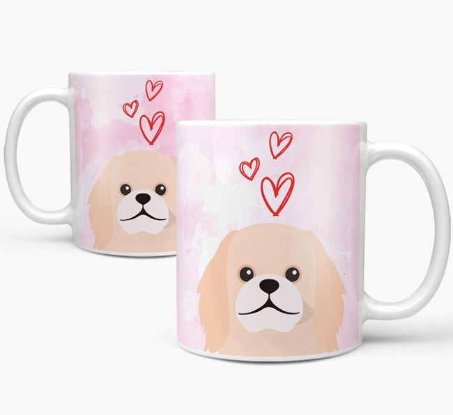 Peeking Pekingese Icon and Hearts Mug