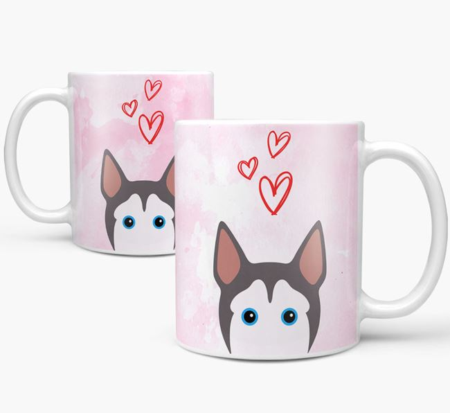Peeking Pitsky Icon and Hearts Mug