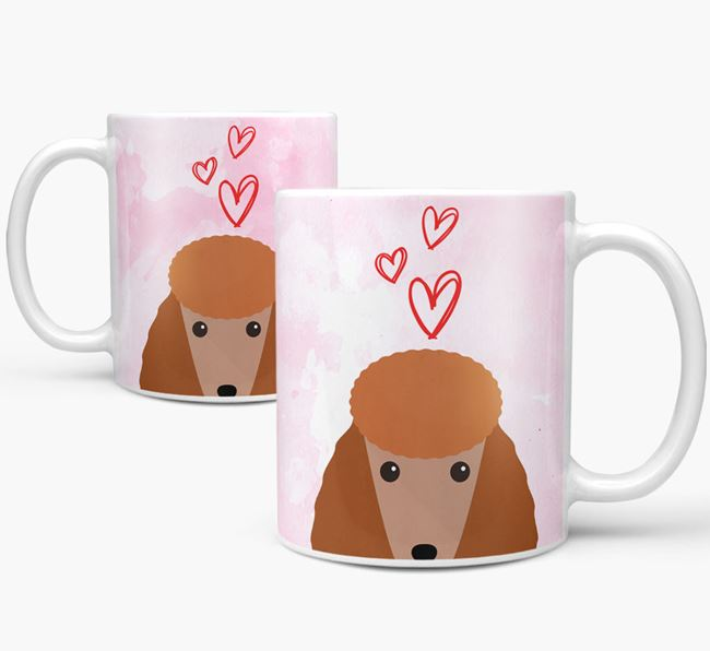 Peeking Poodle Icon and Hearts Mug