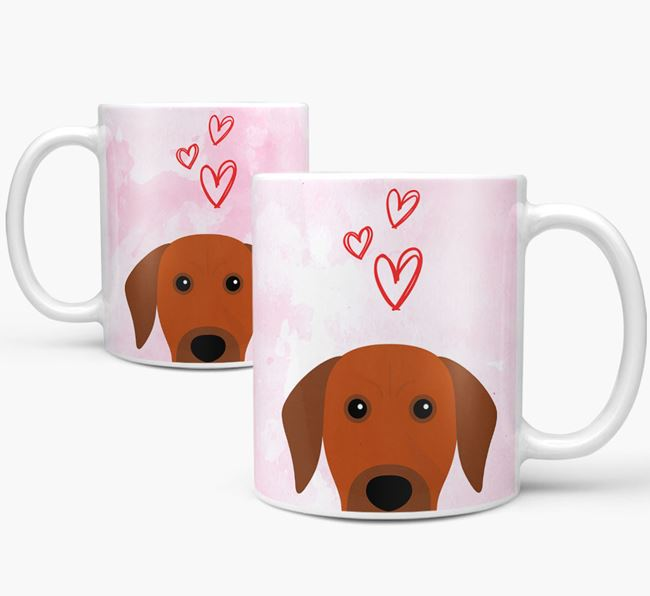 Peeking Rhodesian Ridgeback Icon and Hearts Mug