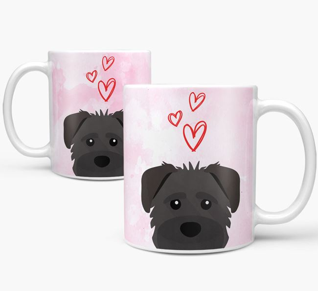 Peeking Schnoodle Icon and Hearts Mug