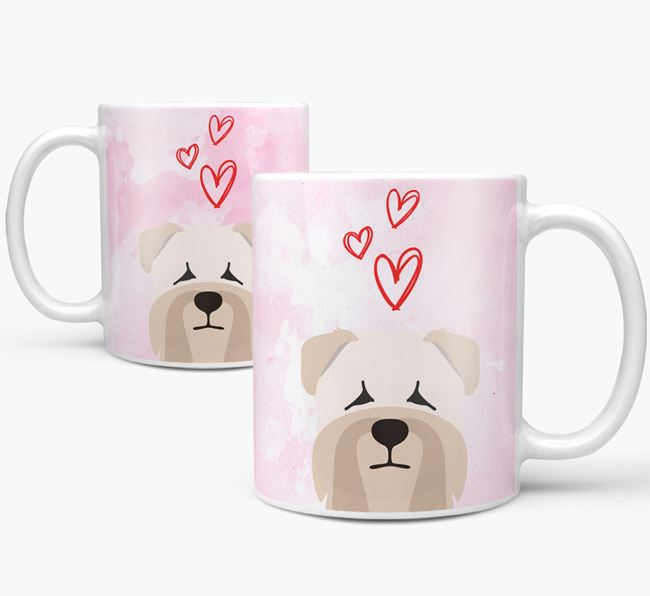 Peeking Soft Coated Wheaten Terrier Icon and Hearts Mug