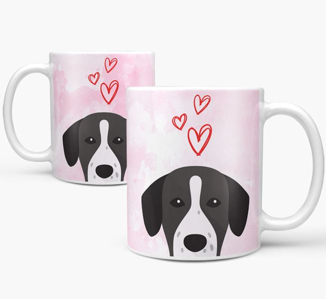 Peeking Springador Icon and Hearts Mug