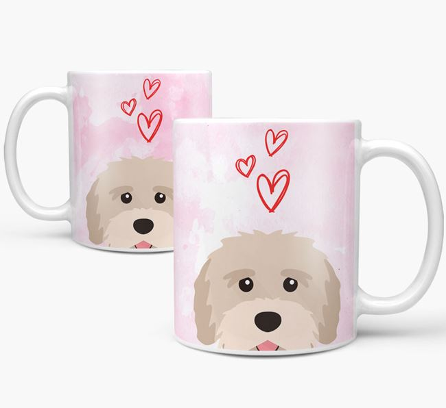 Peeking Tibetan Terrier Icon and Hearts Mug