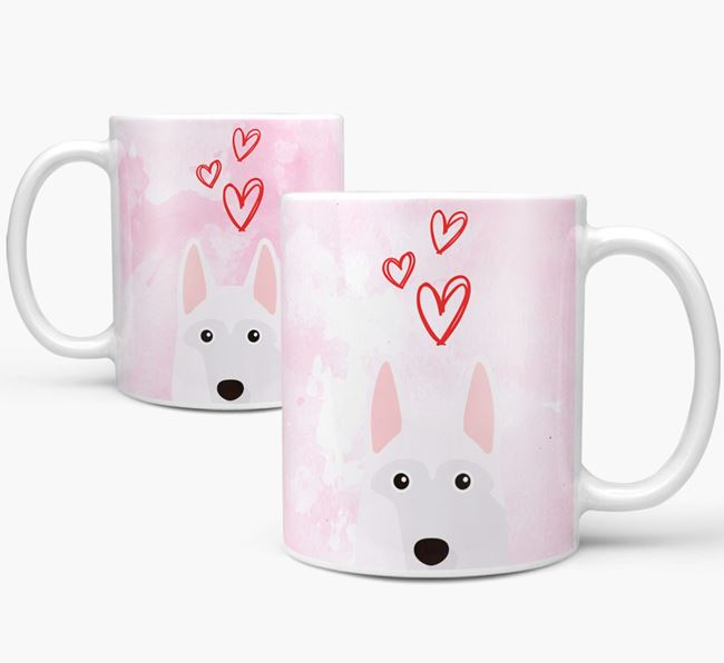 Peeking White Swiss Shepherd Dog Icon and Hearts Mug