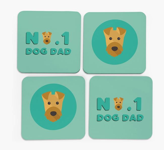 'No.1 Dog Dad' with Airedale Terrier Icon Coasters