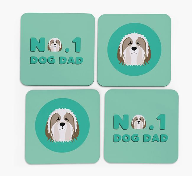 'No.1 Dog Dad' with Bearded Collie Icon Coasters
