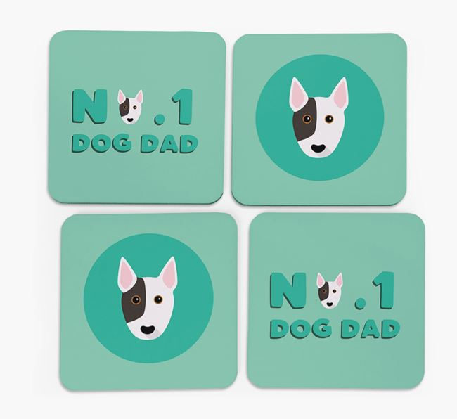 'No.1 Dog Dad' with Bull Terrier Icon Coasters