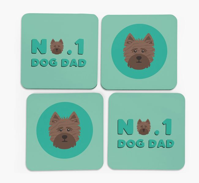 'No.1 Dog Dad' with Cairn Terrier Icon Coasters