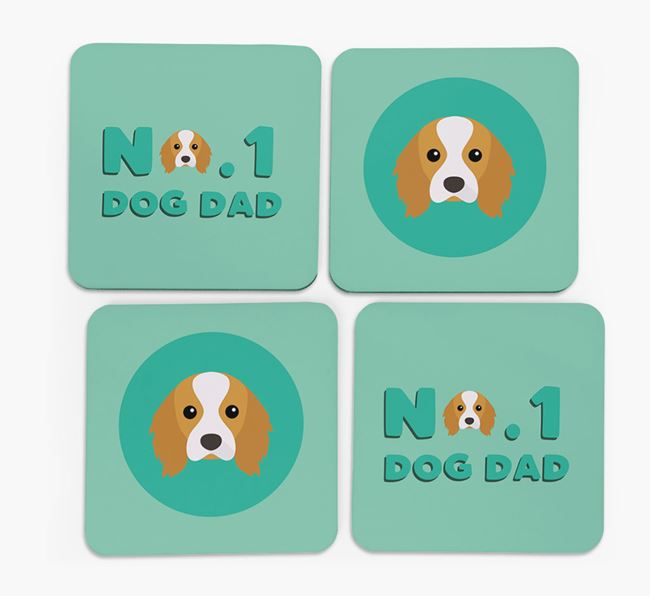 'No.1 Dog Dad' with Cavalier King Charles Spaniel Icon Coasters