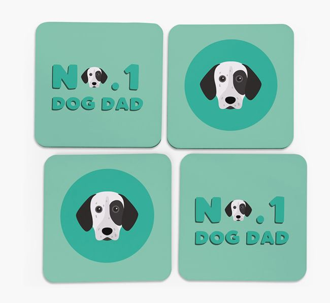'No.1 Dog Dad' with German Shorthaired Pointer Icon Coasters