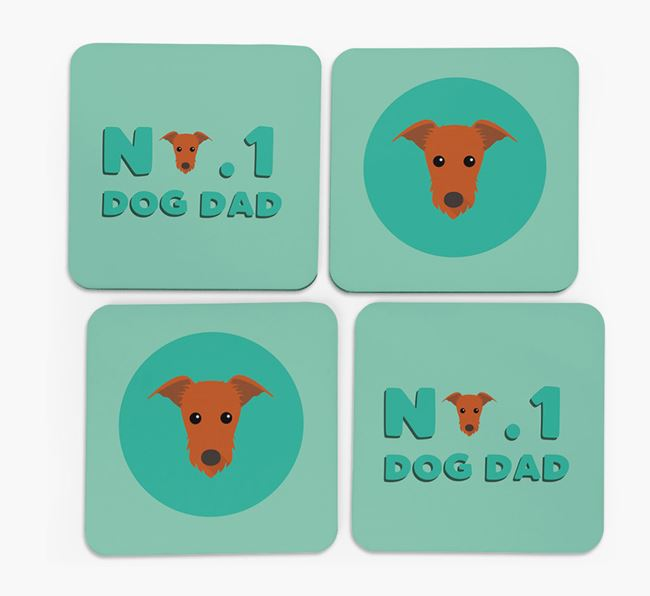 'No.1 Dog Dad' with Lurcher Icon Coasters