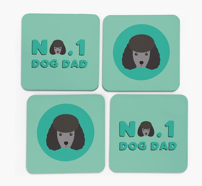 'No.1 Dog Dad' with Miniature Poodle Icon Coasters