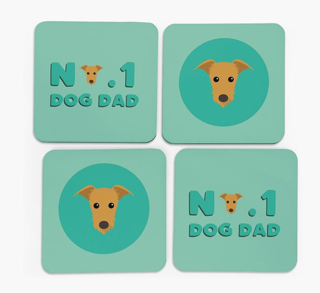 'No.1 Dog Dad' with Mixed Breed Icon Coasters