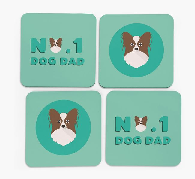'No.1 Dog Dad' with Papillon Icon Coasters