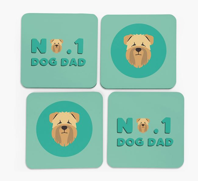 'No.1 Dog Dad' with Soft Coated Wheaten Terrier Icon Coasters