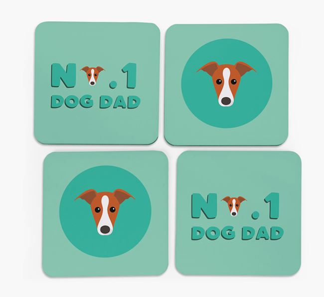 'No.1 Dog Dad' with Whippet Icon Coasters