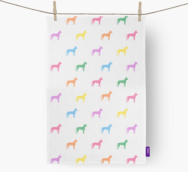 Mexican Hairless Coloured Silhouette Tea Towel