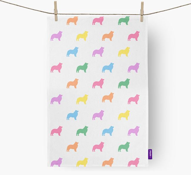Schipperke Coloured Silhouette Tea Towel