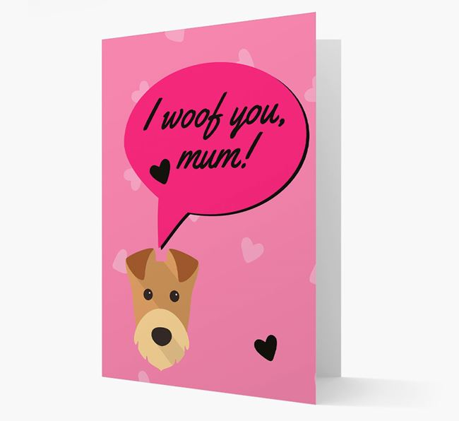 'I woof you, mum!' Card with Airedale Icon