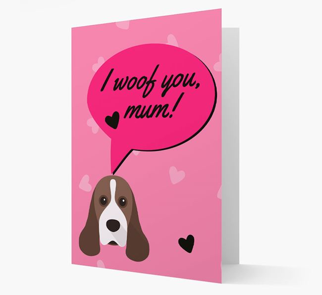 'I woof you, mum!' Card with Cocker Spaniel Icon