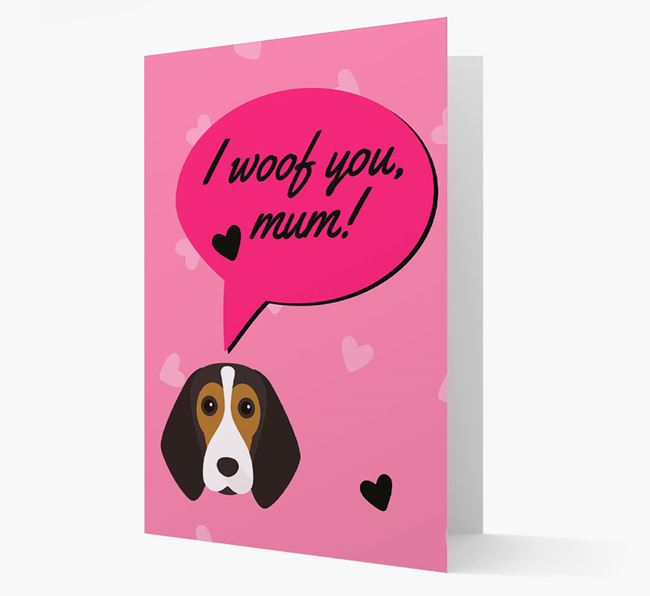 'I woof you, mum!' Card with Beagle Icon
