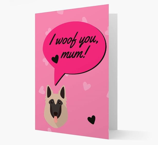 'I woof you, mum!' Card with Belgian Shepherd Icon