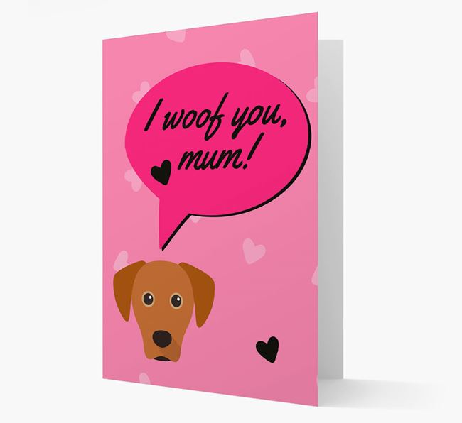 'I woof you, mum!' Card with Blue Lacy Icon
