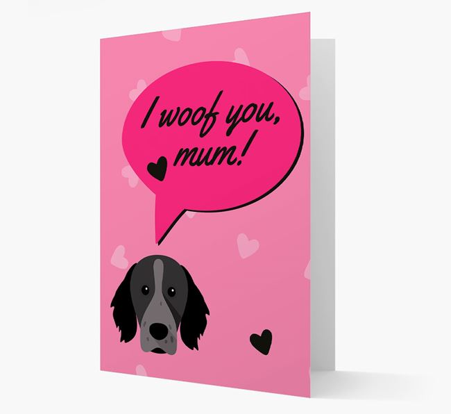 'I woof you, mum!' Card with Brittany Spaniel Icon