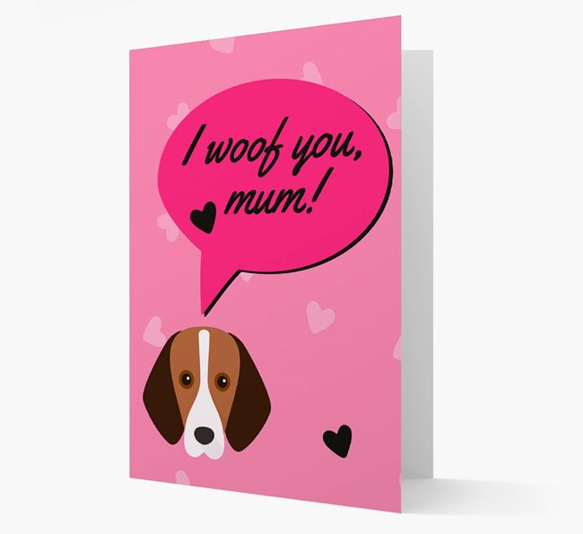 'I woof you, mum!' Card with Foxhound Icon