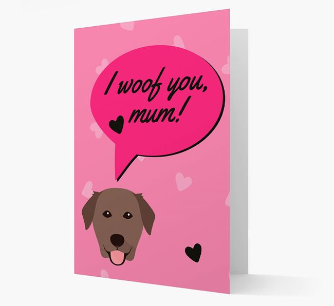'I woof you, mum!' Card with Golden Lab Icon