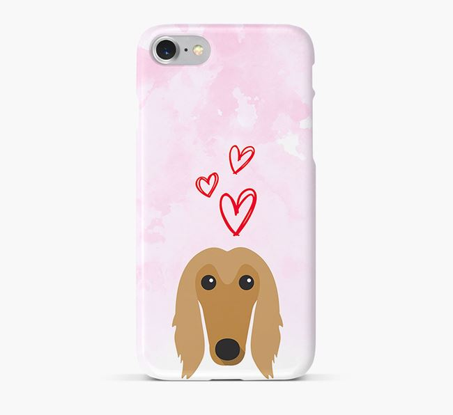 Phone Case with Afghan Hound Icon & Hearts