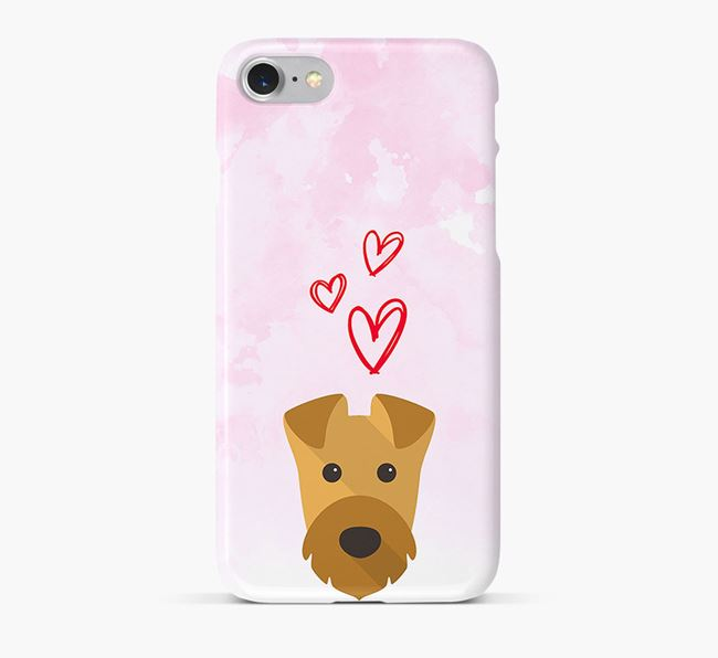 Phone Case with Airedale Icon & Hearts