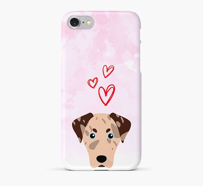 Phone Case with Leopard Cur Icon & Hearts