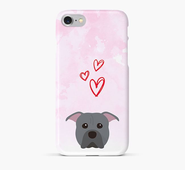 Phone Case with Pit Bull Terrier Icon & Hearts