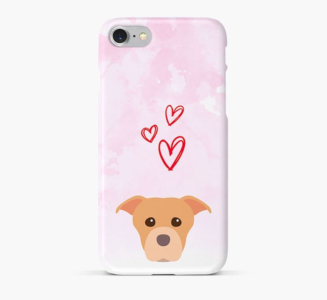 Phone Case with American Staffordshire Terrier Icon & Hearts