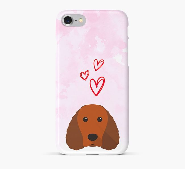 Phone Case with Water Spaniel Icon & Hearts