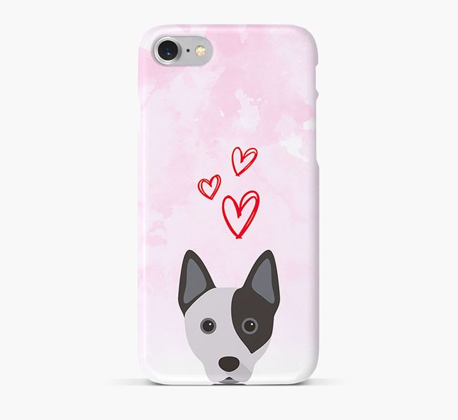 Phone Case with Cattle Dog Icon & Hearts