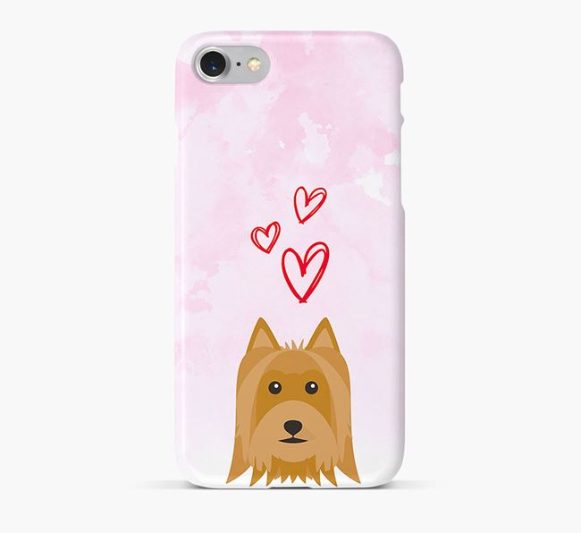 Phone Case with Silky Terrier Icon & Hearts