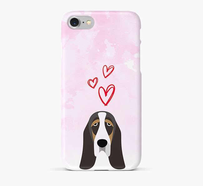 Phone Case with Basset Hound Icon & Hearts