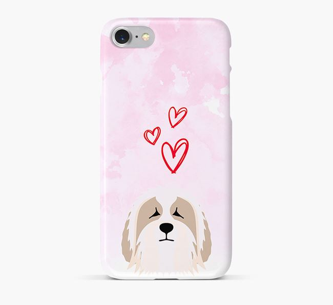 Phone Case with Bearded Collie Icon & Hearts