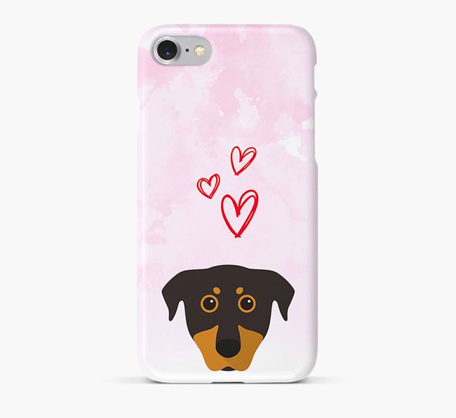 Phone Case with Beauceron Icon & Hearts