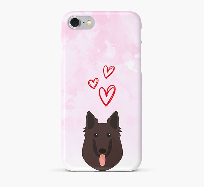 Phone Case with Belgian Shepherd Icon & Hearts