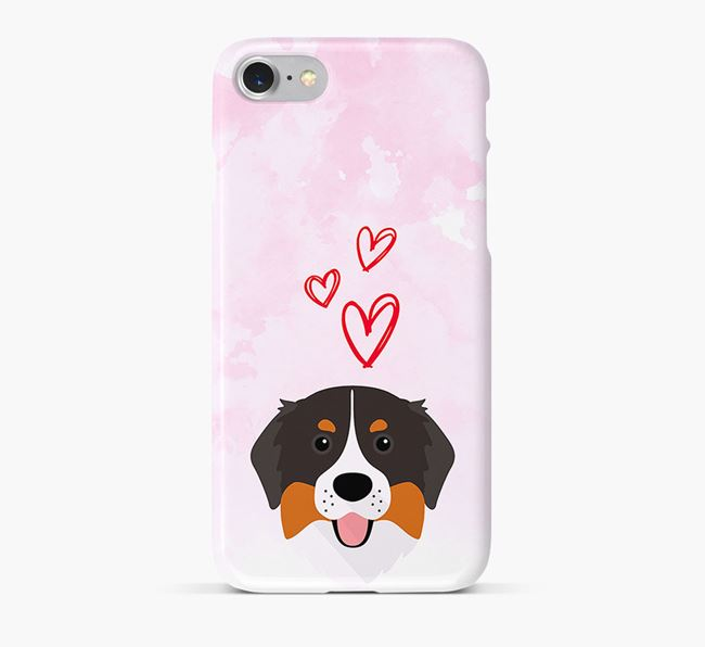 Phone Case with Bernese Icon & Hearts
