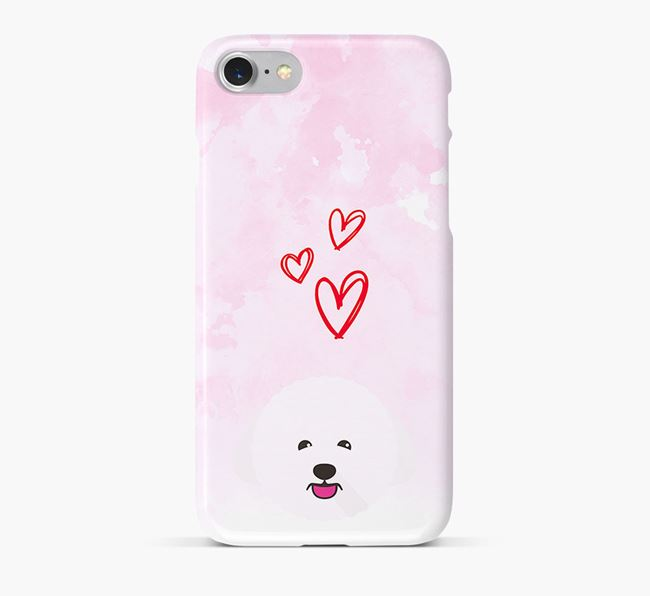 Phone Case with Bichon Frise Icon & Hearts