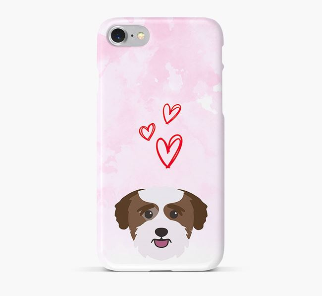 Phone Case with Bichon Yorkie Icon & Hearts