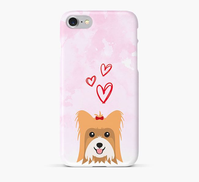 Phone Case with Biewer Terrier Icon & Hearts